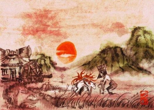 Parece um quadro, mas não é. Esta é uma cena de Okami.